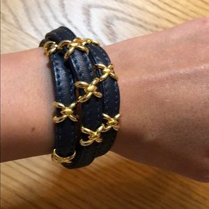 Vita navy leather and gold wrap bracelet